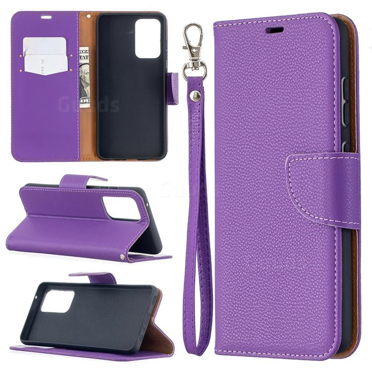 Classic Luxury Litchi Leather Phone Wallet Case for Samsung Galaxy A52 (4G, 5G) - Purple