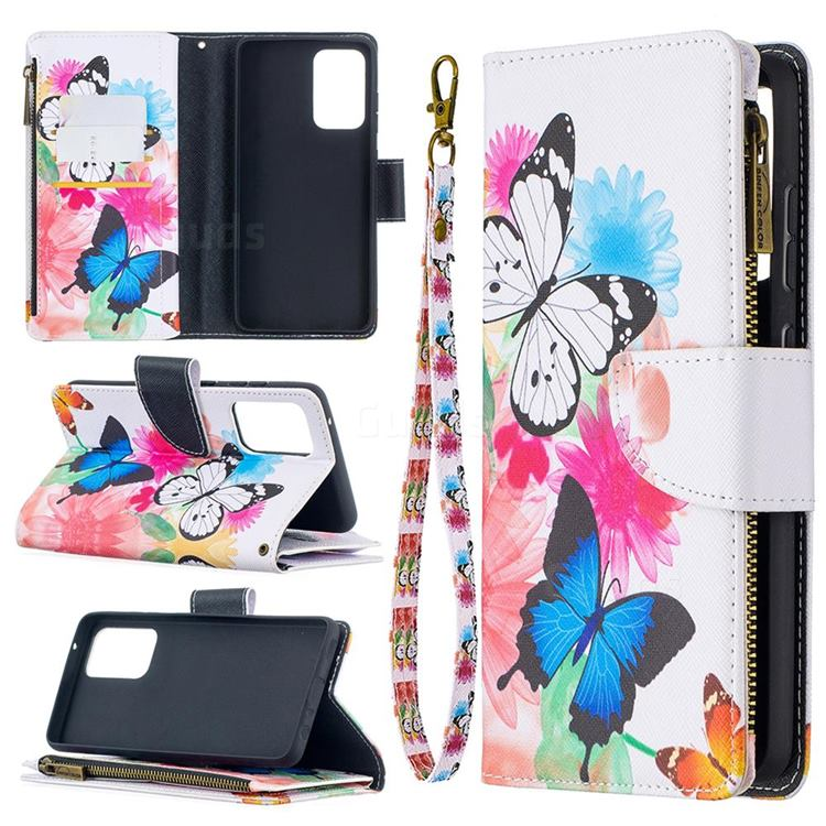 Vivid Flying Butterflies Binfen Color BF03 Retro Zipper Leather Wallet Phone Case for Samsung Galaxy A52 (4G, 5G)