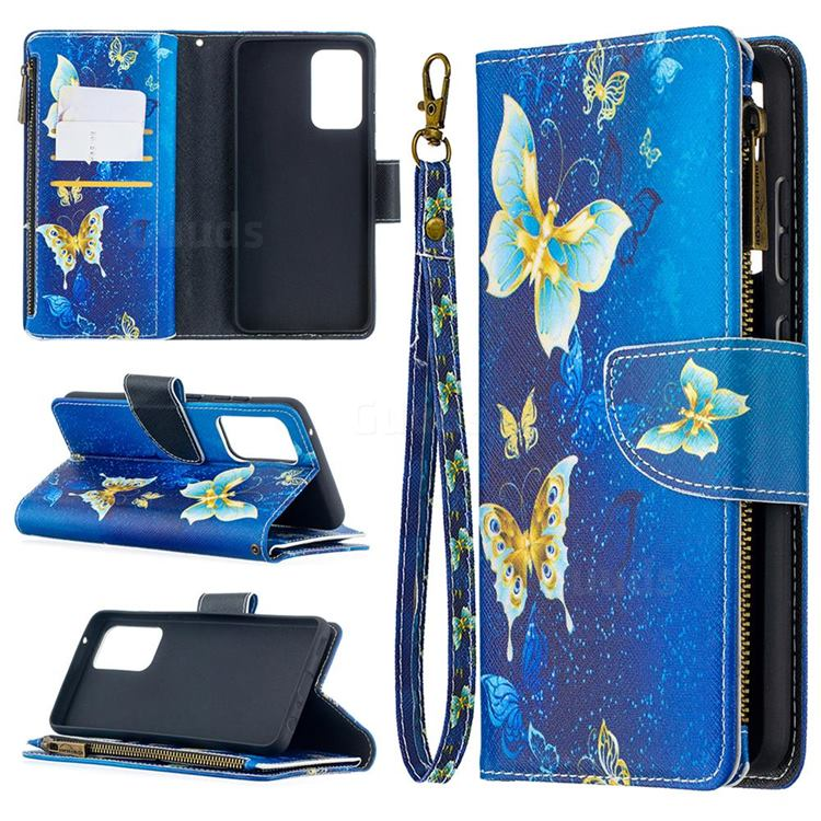 Golden Butterflies Binfen Color BF03 Retro Zipper Leather Wallet Phone Case for Samsung Galaxy A52 (4G, 5G)