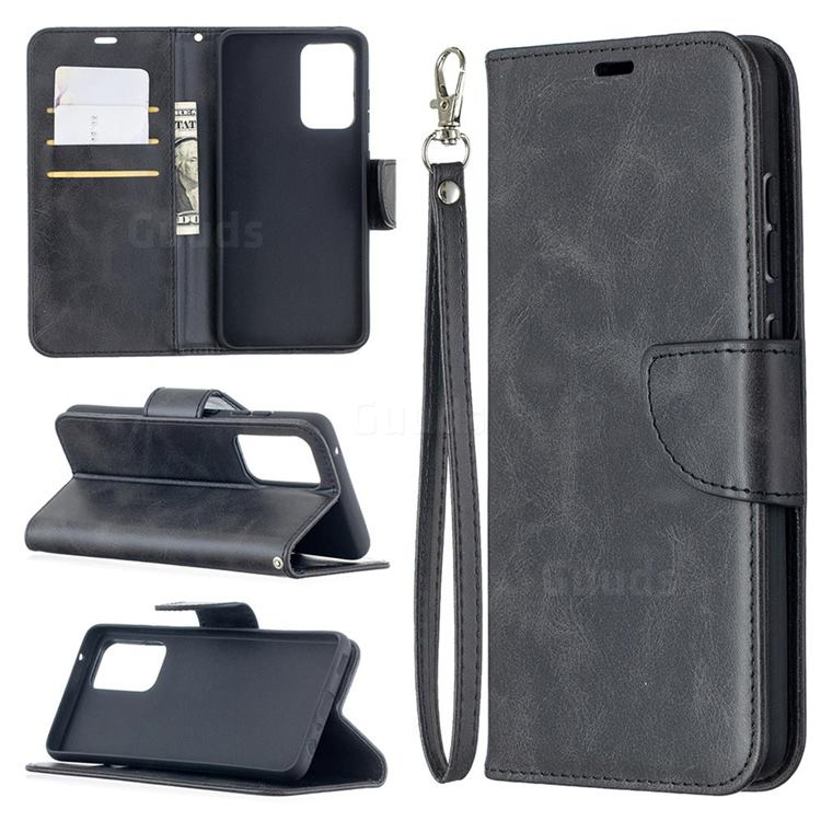 Classic Sheepskin PU Leather Phone Wallet Case for Samsung Galaxy A52 (4G, 5G) - Black