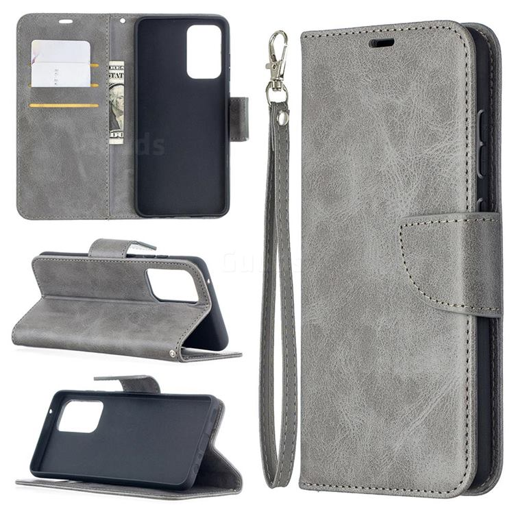 Classic Sheepskin PU Leather Phone Wallet Case for Samsung Galaxy A52 (4G, 5G) - Gray