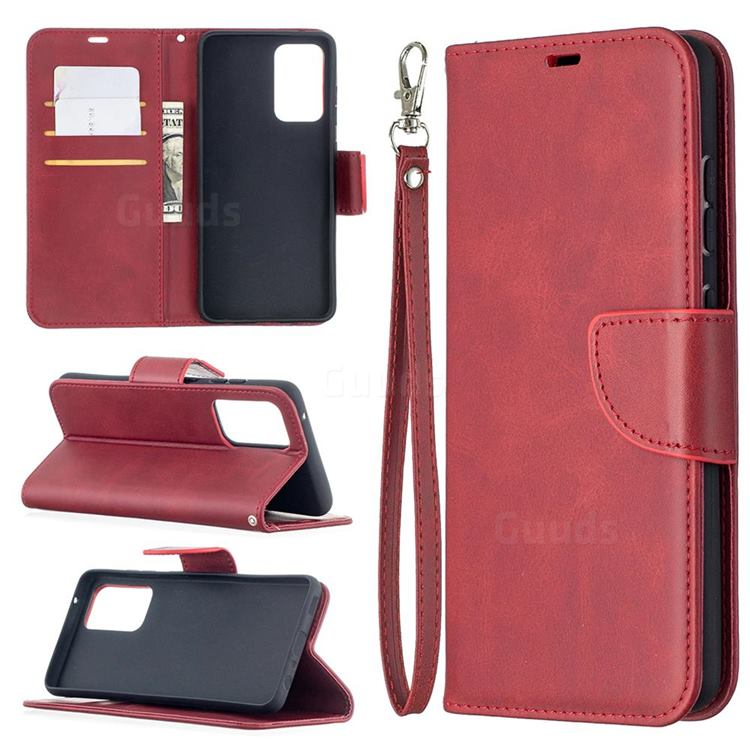 Classic Sheepskin PU Leather Phone Wallet Case for Samsung Galaxy A52 (4G, 5G) - Red