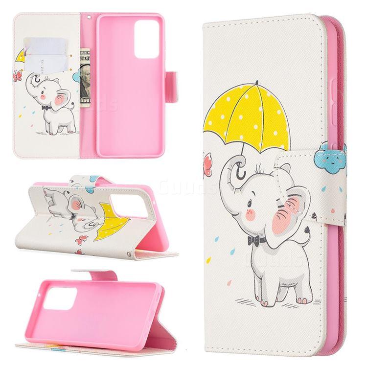 Umbrella Elephant Leather Wallet Case for Samsung Galaxy A52 (4G, 5G)
