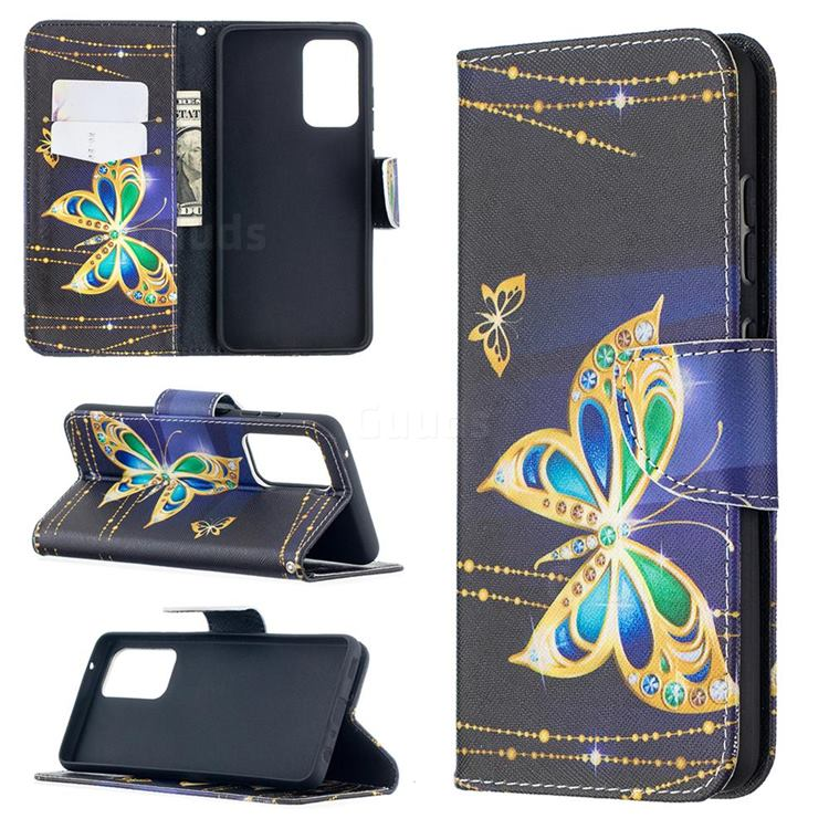 Golden Shining Butterfly Leather Wallet Case for Samsung Galaxy A52 (4G, 5G)