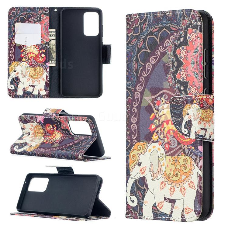 Totem Flower Elephant Leather Wallet Case for Samsung Galaxy A52 (4G, 5G)
