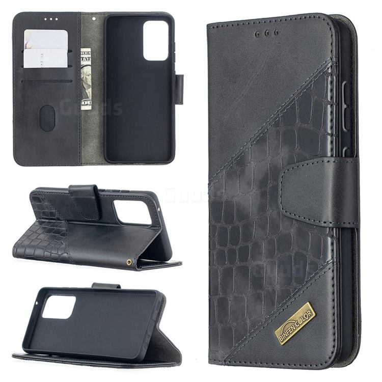 BinfenColor BF04 Color Block Stitching Crocodile Leather Case Cover for Samsung Galaxy A52 (4G, 5G) - Black