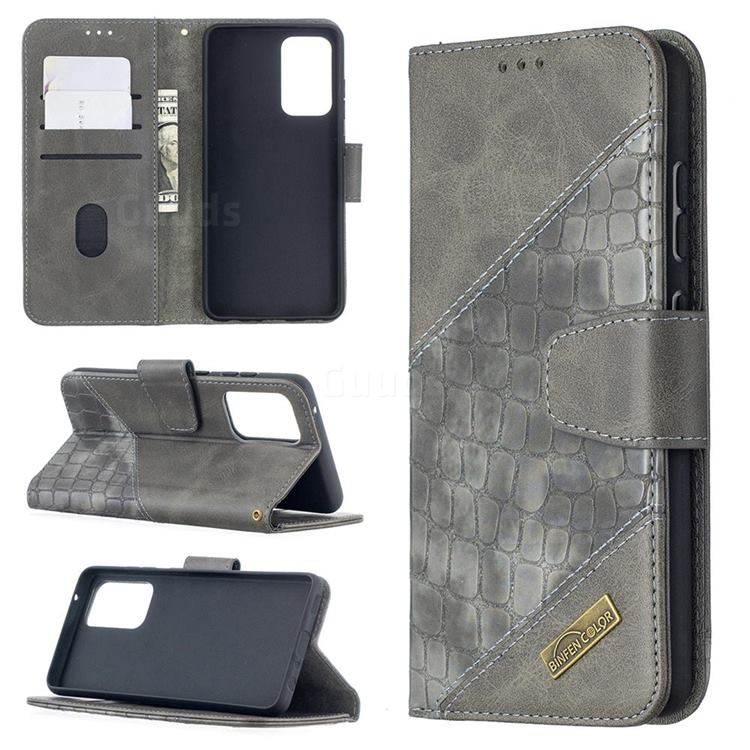 BinfenColor BF04 Color Block Stitching Crocodile Leather Case Cover for Samsung Galaxy A52 (4G, 5G) - Gray
