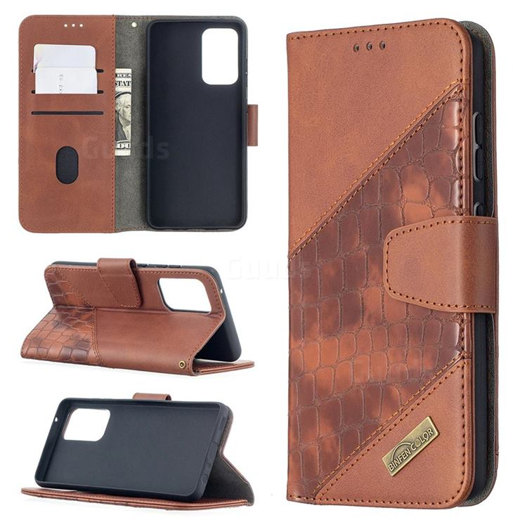 BinfenColor BF04 Color Block Stitching Crocodile Leather Case Cover for Samsung Galaxy A52 (4G, 5G) - Brown