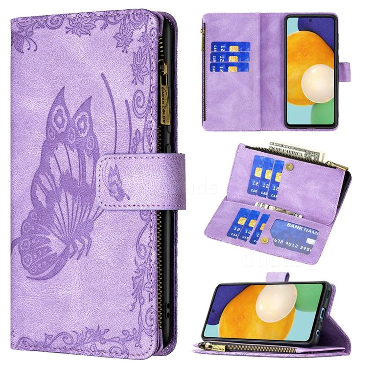 Binfen Color Imprint Vivid Butterfly Buckle Zipper Multi-function Leather Phone Wallet for Samsung Galaxy A52 (4G, 5G) - Purple