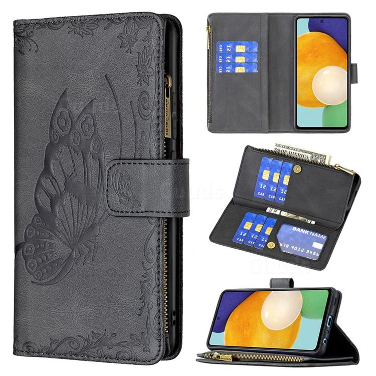 Binfen Color Imprint Vivid Butterfly Buckle Zipper Multi-function Leather Phone Wallet for Samsung Galaxy A52 (4G, 5G) - Black