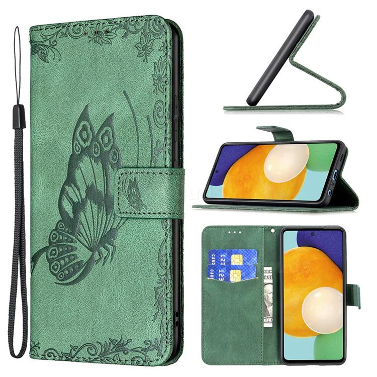 Binfen Color Imprint Vivid Butterfly Leather Wallet Case for Samsung Galaxy A52 (4G, 5G) - Green
