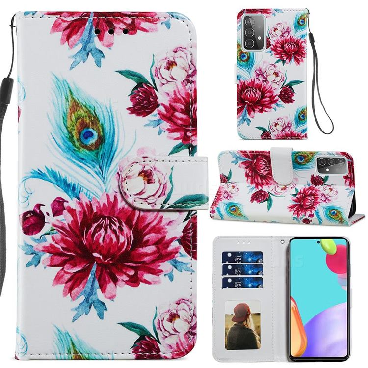 Peacock Flower Smooth Leather Phone Wallet Case for Samsung Galaxy A52 (4G, 5G)