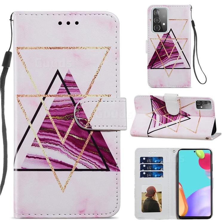 Three-color Marble Smooth Leather Phone Wallet Case for Samsung Galaxy A52 (4G, 5G)