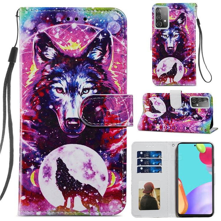 Wolf Totem Smooth Leather Phone Wallet Case for Samsung Galaxy A52 (4G, 5G)