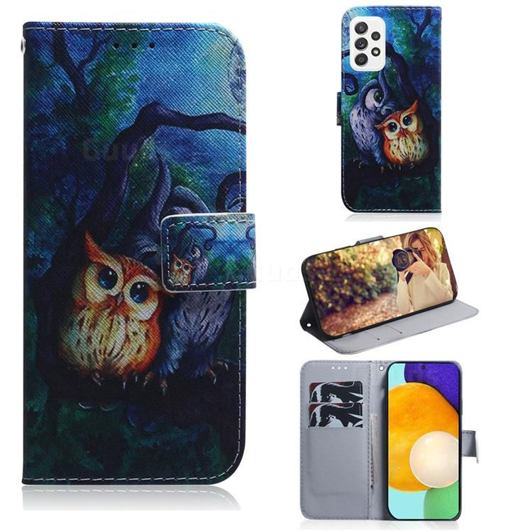 Oil Painting Owl PU Leather Wallet Case for Samsung Galaxy A52 (4G, 5G)