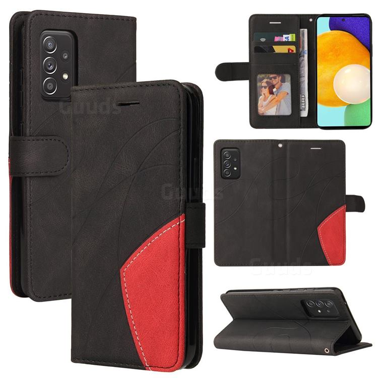 Luxury Two-color Stitching Leather Wallet Case Cover for Samsung Galaxy A52 (4G, 5G) - Black