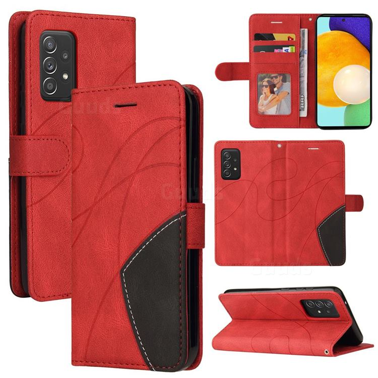 Luxury Two-color Stitching Leather Wallet Case Cover for Samsung Galaxy A52 (4G, 5G) - Red