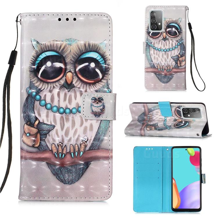 Sweet Gray Owl 3D Painted Leather Wallet Case for Samsung Galaxy A52 (4G, 5G)