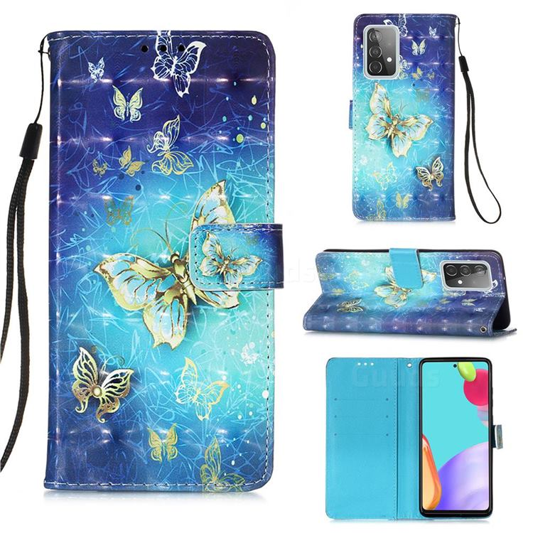 Gold Butterfly 3D Painted Leather Wallet Case for Samsung Galaxy A52 (4G, 5G)