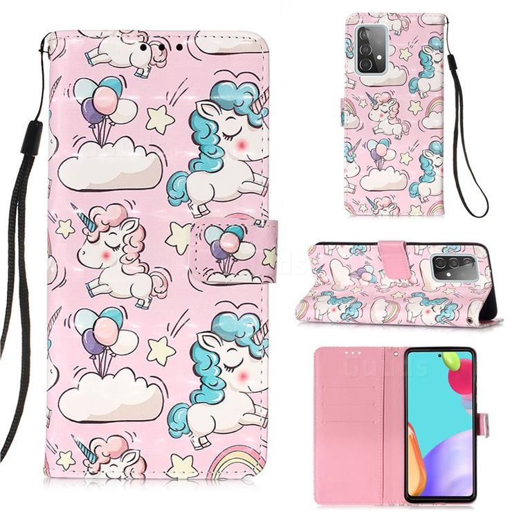 Angel Pony 3D Painted Leather Wallet Case for Samsung Galaxy A52 (4G, 5G)