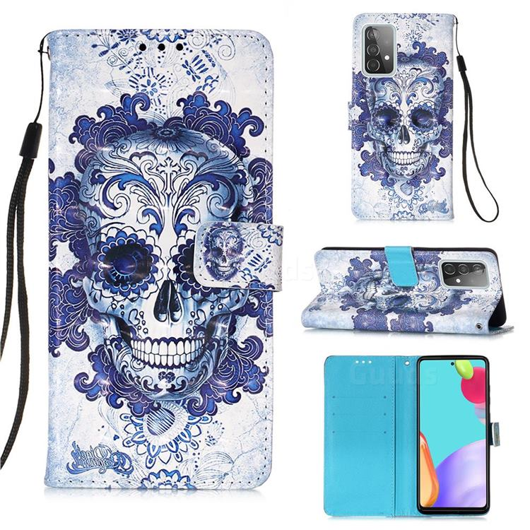 Cloud Kito 3D Painted Leather Wallet Case for Samsung Galaxy A52 (4G, 5G)