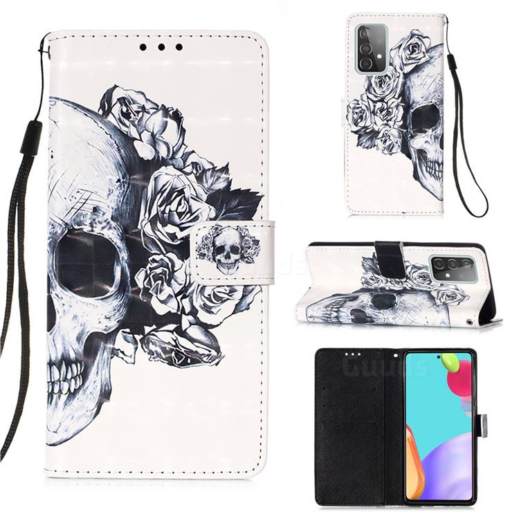 Skull Flower 3D Painted Leather Wallet Case for Samsung Galaxy A52 (4G, 5G)