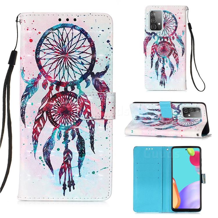 ColorDrops Wind Chimes 3D Painted Leather Wallet Case for Samsung Galaxy A52 (4G, 5G)