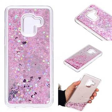 Glitter Sand Mirror Quicksand Dynamic Liquid Star TPU Case for Samsung Galaxy A8 2018 A530 - Cherry Pink