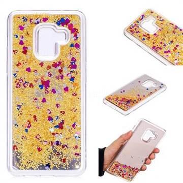Glitter Sand Mirror Quicksand Dynamic Liquid Star TPU Case for Samsung Galaxy A8 2018 A530 - Yellow