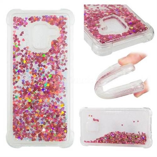 Dynamic Liquid Glitter Sand Quicksand TPU Case for Samsung Galaxy A8 2018 A530 - Rose Gold Love Heart