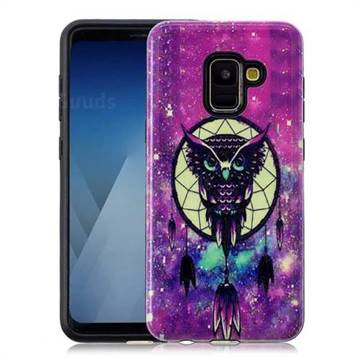 Starry Campanula Owl Pattern 2 in 1 PC + TPU Glossy Embossed Back Cover for Samsung Galaxy A8 2018 A530