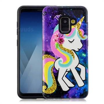 Rainbow Horse Pattern 2 in 1 PC + TPU Glossy Embossed Back Cover for Samsung Galaxy A8 2018 A530