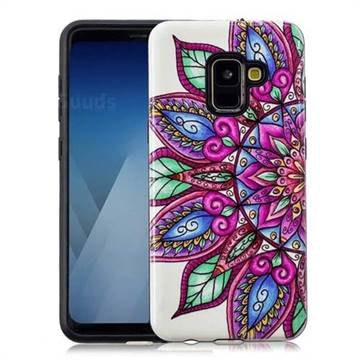 Mandara Flower Pattern 2 in 1 PC + TPU Glossy Embossed Back Cover for Samsung Galaxy A8 2018 A530