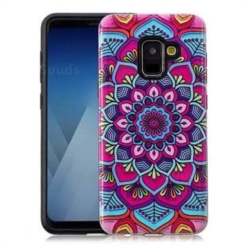Datura Flowers Pattern 2 in 1 PC + TPU Glossy Embossed Back Cover for Samsung Galaxy A8 2018 A530