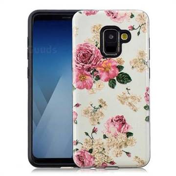 Rose Flower Pattern 2 in 1 PC + TPU Glossy Embossed Back Cover for Samsung Galaxy A8 2018 A530