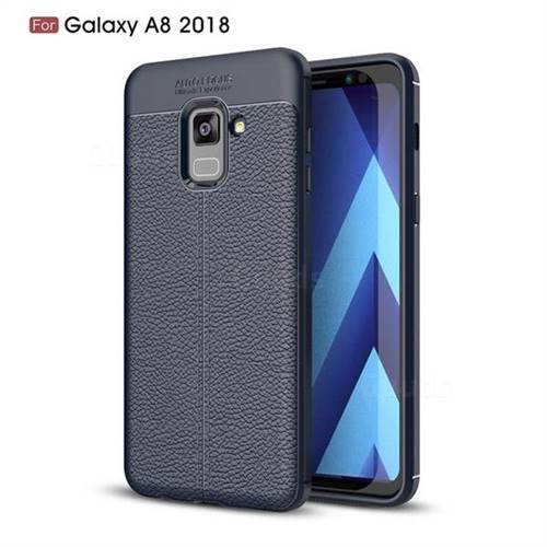 Luxury Auto Focus Litchi Texture Silicone TPU Back Cover for Samsung Galaxy A8 2018 A530 - Dark Blue