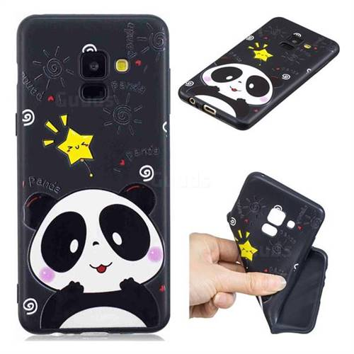Cute Bear 3D Embossed Relief Black TPU Cell Phone Back Cover for Samsung Galaxy A8 2018 A530