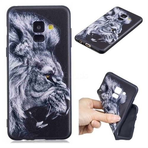 Lion 3D Embossed Relief Black TPU Cell Phone Back Cover for Samsung Galaxy A8 2018 A530