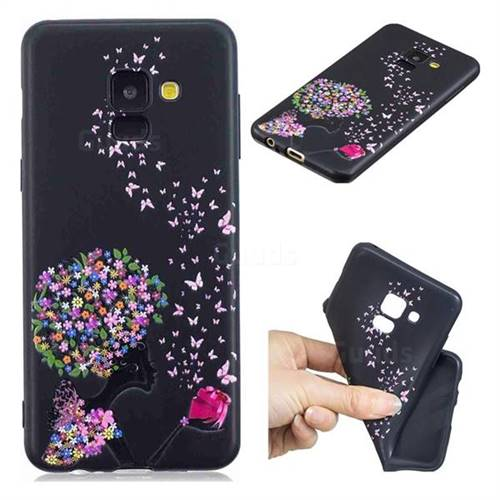 Corolla Girl 3D Embossed Relief Black TPU Cell Phone Back Cover for Samsung Galaxy A8 2018 A530