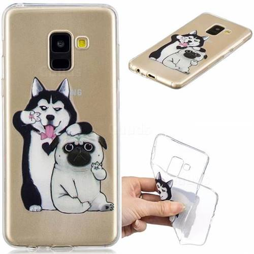 Selfie Dog Clear Varnish Soft Phone Back Cover for Samsung Galaxy A8 2018 A530