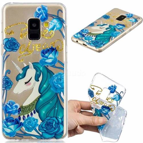 Blue Flower Unicorn Clear Varnish Soft Phone Back Cover for Samsung Galaxy A8 2018 A530