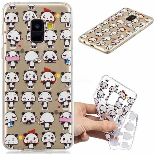Mini Panda Clear Varnish Soft Phone Back Cover for Samsung Galaxy A8 2018 A530