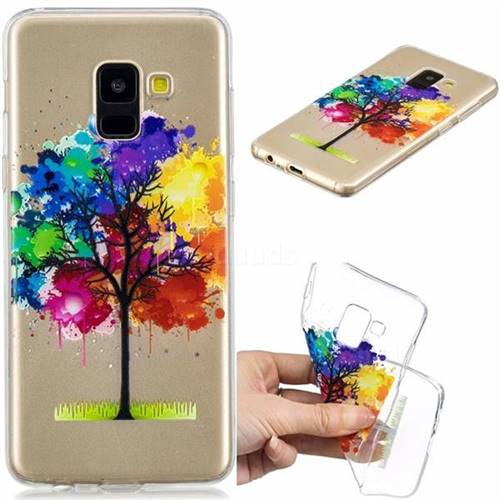 Oil Painting Tree Clear Varnish Soft Phone Back Cover for Samsung Galaxy A8 2018 A530