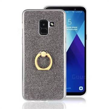 Luxury Soft TPU Glitter Back Ring Cover with 360 Rotate Finger Holder Buckle for Samsung Galaxy A8 2018 A530 - Black