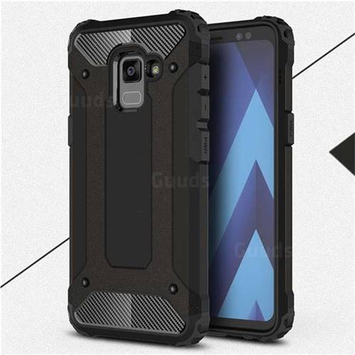 King Kong Armor Premium Shockproof Dual Layer Rugged Hard Cover for Samsung Galaxy A8 2018 A530 - Black Gold