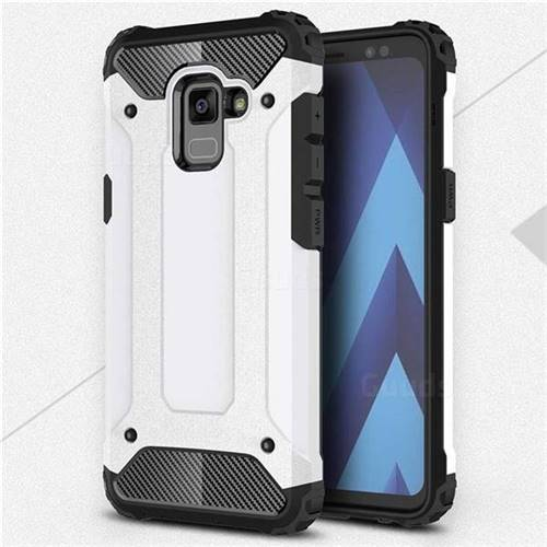 King Kong Armor Premium Shockproof Dual Layer Rugged Hard Cover for Samsung Galaxy A8 2018 A530 - White