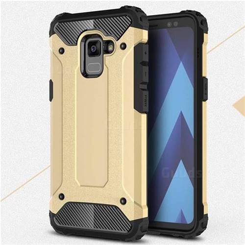 King Kong Armor Premium Shockproof Dual Layer Rugged Hard Cover for Samsung Galaxy A8 2018 A530 - Champagne Gold