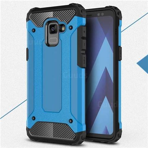 King Kong Armor Premium Shockproof Dual Layer Rugged Hard Cover for Samsung Galaxy A8 2018 A530 - Sky Blue