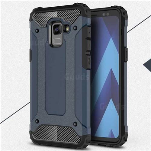 King Kong Armor Premium Shockproof Dual Layer Rugged Hard Cover for Samsung Galaxy A8 2018 A530 - Navy