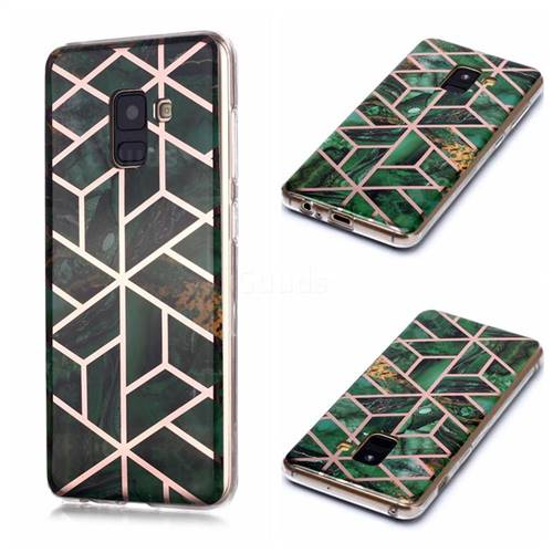 Green Rhombus Galvanized Rose Gold Marble Phone Back Cover for Samsung Galaxy A8 2018 A530